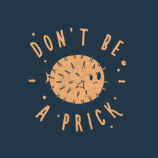 don't be a prick navy t-shirt