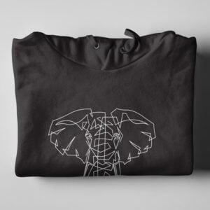 Ellie Geometric Illustrated Black Hoodie - folded