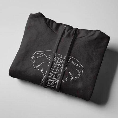 Ellie Geometric Illustrated Black Hoodie - strings
