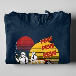 Pew Pew Star Wars Stormtrooper Navy Blue Hoodie - folded