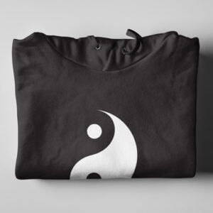 Yin Yang Esoteric Mysticism Black Hoodie - folded