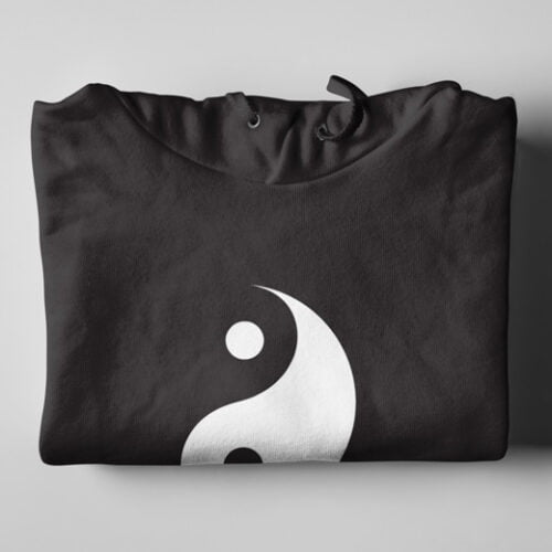 Yin Yang Esoteric Mysticism Black Hoodie - folded