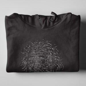 Einstein E=mc2 Black Hoodie - folded