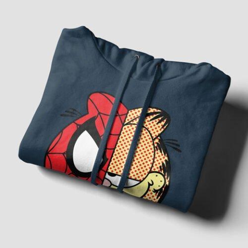Garfield Spiderman Navy Blue Hoodie - flat