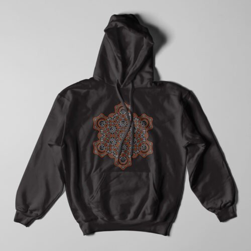 Hex Illustrated Geometric Black Hoodie - flat