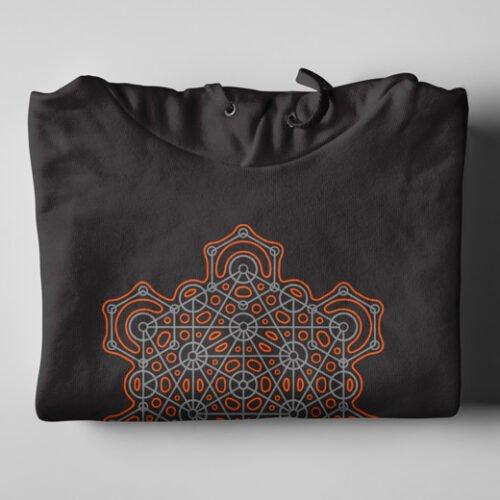 Hex Illustrated Geometric Black Hoodie - folded