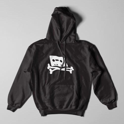 Pirate Bay Piracy Black Hoodie - flat