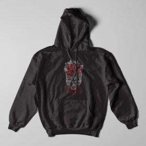 Skull Rose Geometrica Black Hoodie - flat