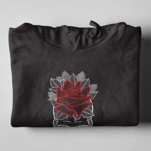 Skull Rose Geometrica Black Hoodie - folded