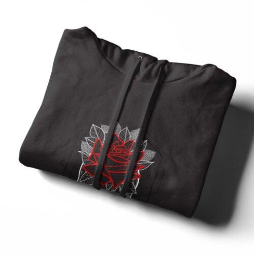 Skull Rose Geometrica Black Hoodie - strings