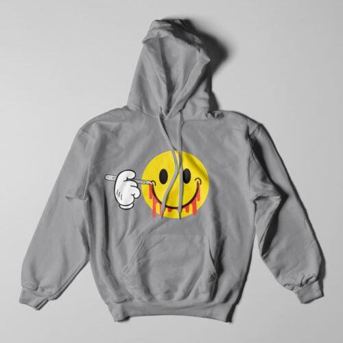 Smile It's OK Grey Melange Hoodie - flat