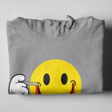Smile It's OK Grey Melange Hoodie - folded