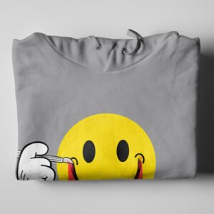 Smile It's OK Grey Melange Hoodie - folded