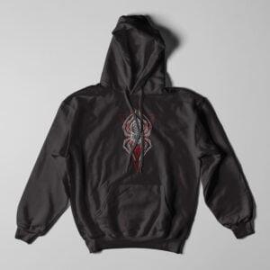 Spider Geometric Black Hoodie - flat