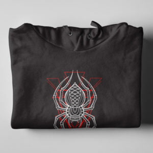 Spider Geometric Black Hoodie - folded