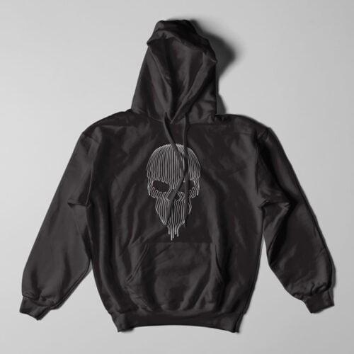 Striped Skull Illustrated Black Hoodie - flat
