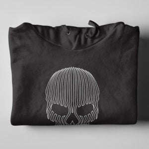 Striped Skull Illustrated Black Hoodie - folded