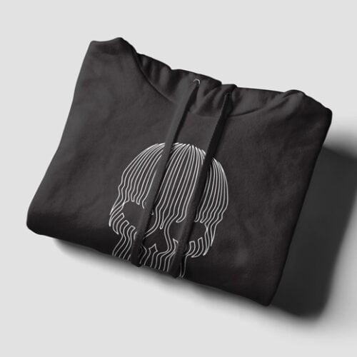Striped Skull Illustrated Black Hoodie - strings