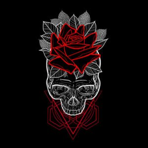 skull rose geometrica black t-shirt