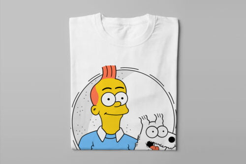 Tintin Simpsons Illustrated Happy Chicken Fitness Cult Men's Tee - white - folded long