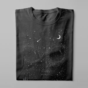 We Are Not Alone Gamma-Ray Graphic Design Men's Tee - black - folded long