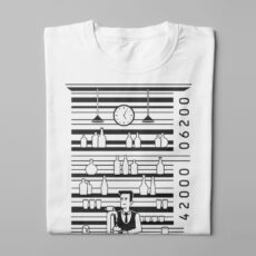 Bar Code Gamma-Ray Graphic Design Men's Tee - white - folded long