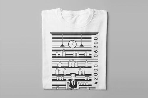 Bar Code Gamma-Ray Graphic Design Men's Tee - white - folded long