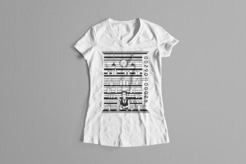 Bar Code Gamma-Ray Graphic Design Ladies' Tee - white
