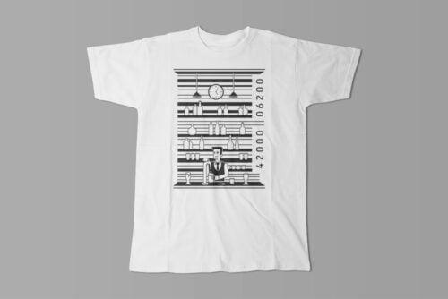 Bar Code Gamma-Ray Graphic Design Men's Tee - white