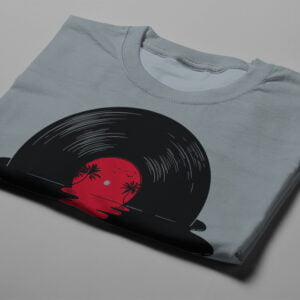 Melt Illustrated Gamma-Ray Graphic Design Men's Tee - steel grey - folded short