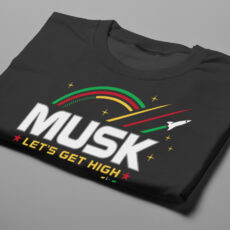 Elon Musk Parody Gamma-Ray Graphic Design Men's Tee - black - folded short