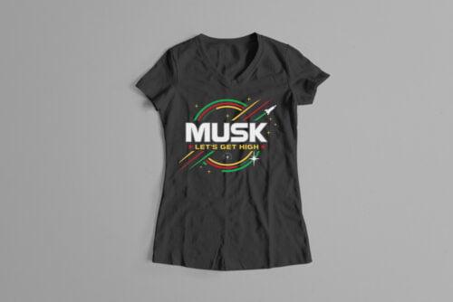 Elon Musk Parody Gamma-Ray Graphic Design Ladies' Tee - black