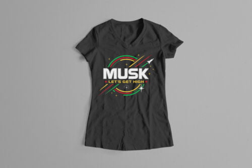 Elon Musk Parody Gamma-Ray Graphic Design Ladies' Tee - black