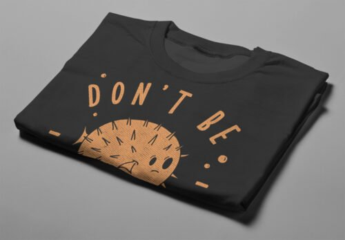 Don't Be A Prick Illustrated Gamma-Ray Graphic Design Men's Tee - black - folded short