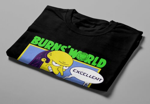 Burns World Illustrated Happy Chicken Fitness Cult Men's Tee - black - folded short