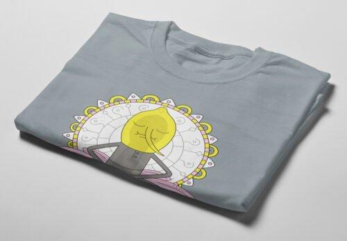 Lemongrab Adventure Time Illustrated Happy Chicken Fitness Cult Men's Tee - steel - folded short
