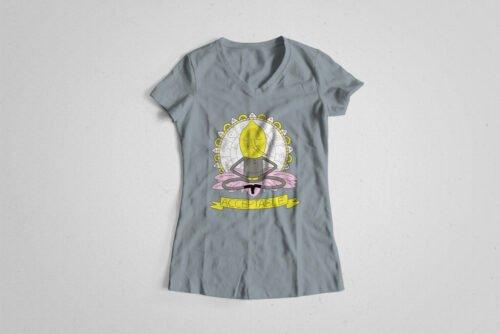 Lemongrab Adventure Time Illustrated Happy Chicken Fitness Cult Ladies' Tee - steel