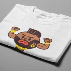 Mr T Illustrated Happy Chicken Fitness Cult Men's Tee - white - folded short