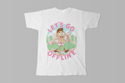 Let's Go Offline Illustrated Happy Chicken Fitness Cult Men's Tee - white