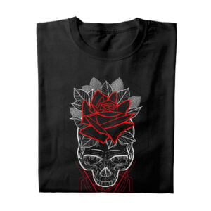 Skull Rose Geometric Illustrated Munky Design T-shirt - black - folded long