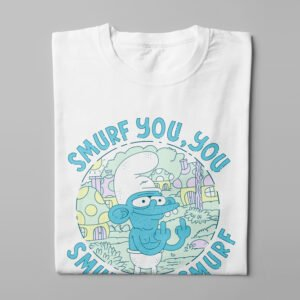 Smurf You Illustrated Happy Chicken Fitness Cult Men's Tee - white - folded long