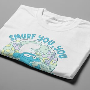 Smurf You Illustrated Happy Chicken Fitness Cult Men's Tee - white - folded short