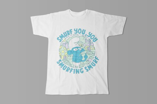 Smurf You Illustrated Happy Chicken Fitness Cult Men's Tee - white