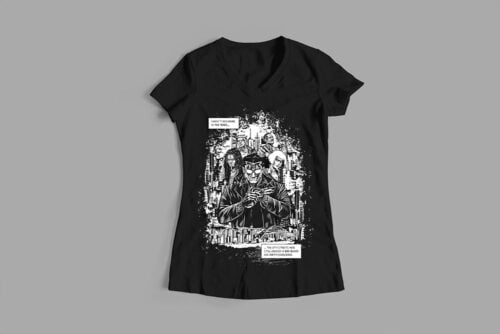 Sobracaine Luke Molver Nero Illustrated Ladies' Tee - black - front