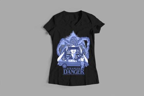 Stranger Danger Luke Molver Illustrated Ladies' Tee - black