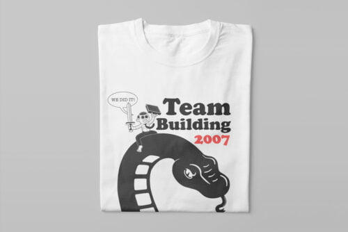 Team Building Illustrated Happy Chicken Fitness Cult Men's Tee - white - folded long