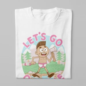 Let's Go Offline Illustrated Happy Chicken Fitness Cult Men's Tee - white - folded long