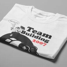 Team Building Illustrated Happy Chicken Fitness Cult Men's Tee - white - folded short