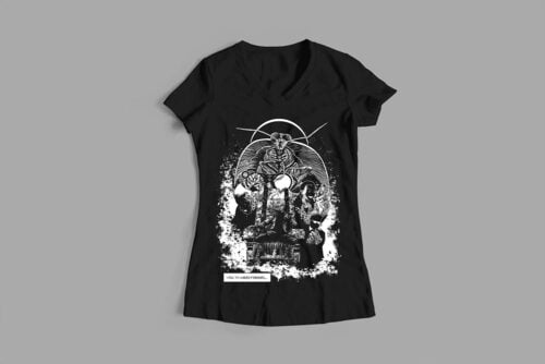 Uneasy Dreams Luke Molver Nero Illustrated Ladies' Tee - black - front
