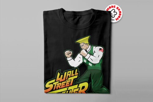 Wall Street Fighter Argyle Illustrated Mode Random Men's Tee - black - folded long